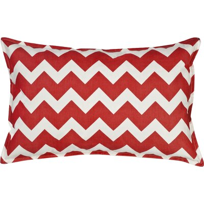 Chevron Cotton Canvas Lumbar Pillow Color: Red
