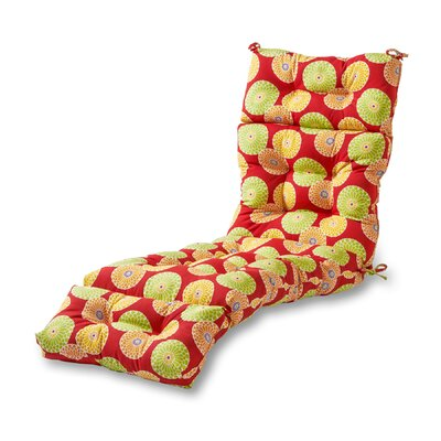 Outdoor Chaise Lounge Cushion Fabric: Flower Red