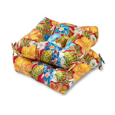 Aloha Outdoor Dining Chair Cushion Fabric: Red