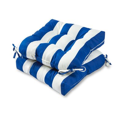 Cabana Stripe Outdoor Dining Chair Cushion Fabric: Blue