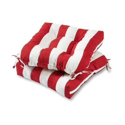Cabana Stripe Outdoor Dining Chair Cushion Fabric: Red