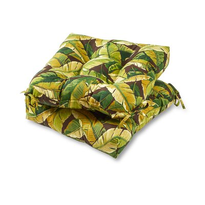 Palm Leaves Outdoor Dining Chair Cushion Fabric: Green
