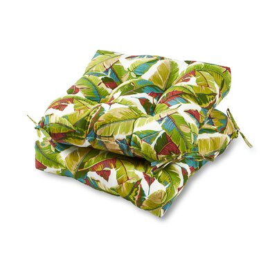 Palm Leaves Outdoor Dining Chair Cushion Fabric: Multi