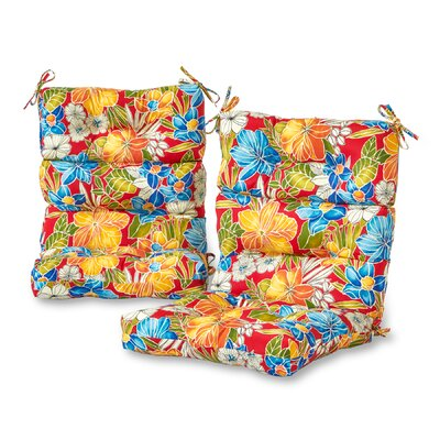 Aloha High Back Outdoor Lounge Chair Cushion Fabric: Red
