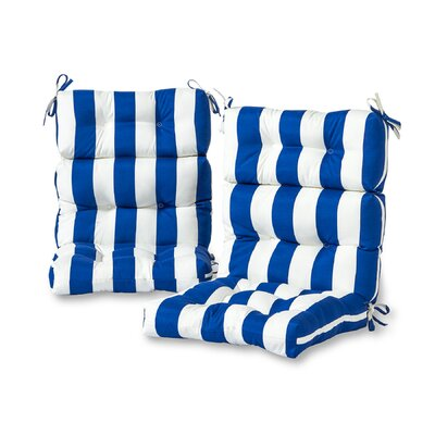 Cabana Stripe High Back Outdoor Lounge Chair Cushion Fabric: Blue