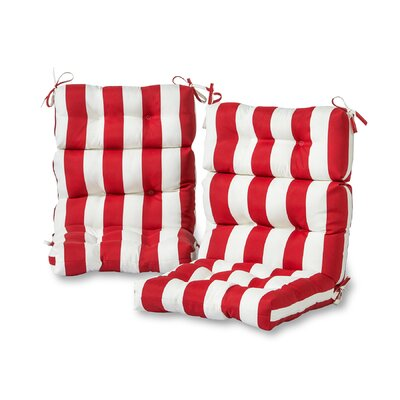 Cabana Stripe High Back Outdoor Lounge Chair Cushion Fabric: Red