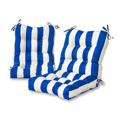 Cabana Stripe Outdoor Lounge Chair Cushion Fabric: Blue
