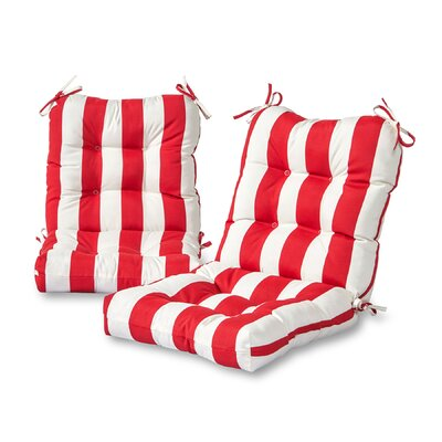 Cabana Stripe Outdoor Lounge Chair Cushion Fabric: Red