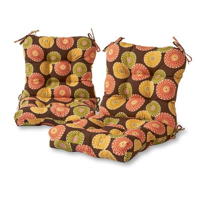 Flowers Outdoor Lounge Chair Cushion Fabric: Chocolate