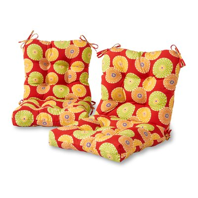 Flowers Outdoor Lounge Chair Cushion Fabric: Red