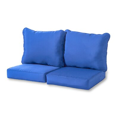 4 Piece Outdoor Loveseat Cushion Set Fabric: Marine
