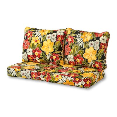 Aloha 4 Piece Outdoor Loveseat Cushion Set