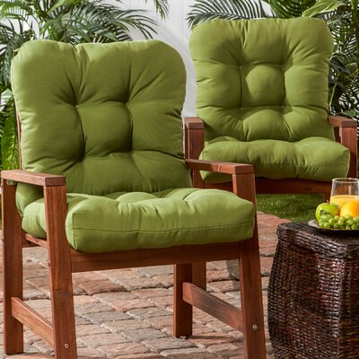 Outdoor Seat/Back Chair Cushion Set of 2 Fabric: Green