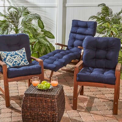 Outdoor Seat/Back Chair Cushion Set of 2 Fabric: Navy