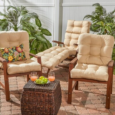 Outdoor Seat/Back Chair Cushion Set of 2 Fabric: Stone