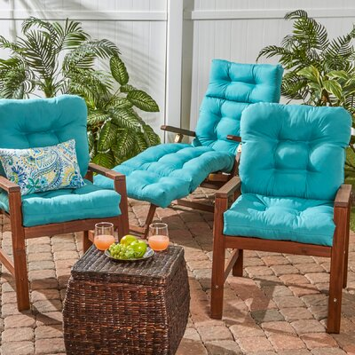 Outdoor Seat/Back Chair Cushion Set of 2 Color: Teal