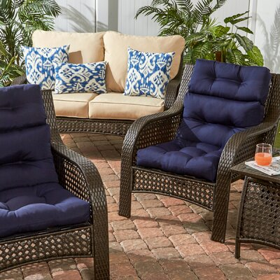 Outdoor High Back Chair Cushion Set of 2 Color: Navy