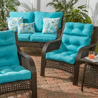 Outdoor High Back Chair Cushion Set of 2 Color: Teal