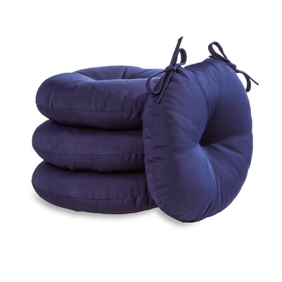 18 Round Outdoor Bistro Chair Cushion Set of 4 Color: Navy