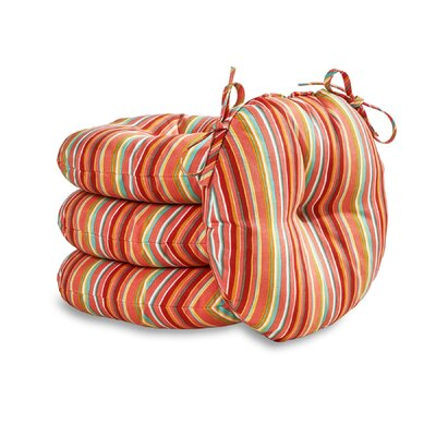 Round Outdoor Dining Chair Cushion Set Fabric: Watermelon