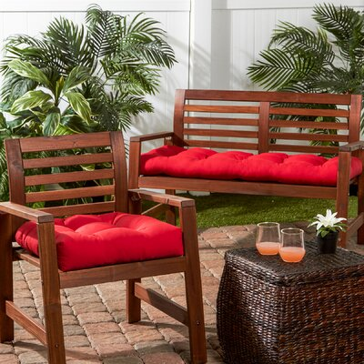 Outdoor Sunbrella Bench Cushion Color: Jockey Red
