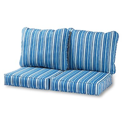 Deep Outdoor Loveseat Cushion Fabric: Sapphire