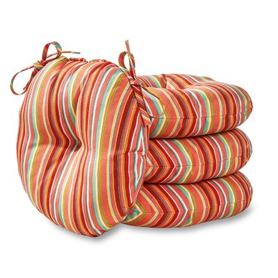 Round Outdoor Dining Chair Cushion Fabric: Watermelon