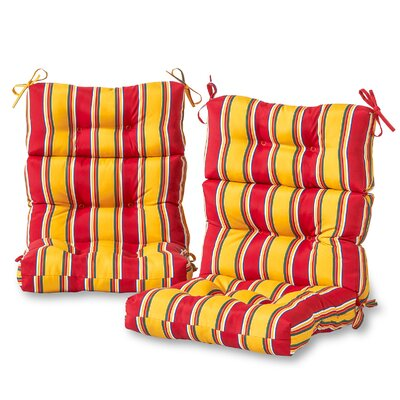 High Back Outdoor Striped Lounge Chair Cushion Set