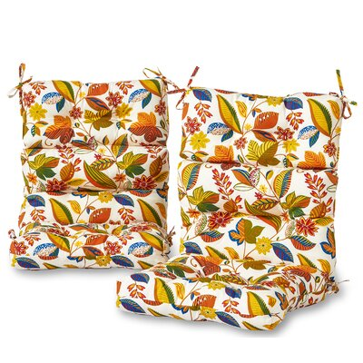 High Back Outdoor Floral Lounge Chair Cushion Set