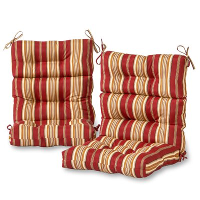 2 Pieces High Back Outdoor Lounge Chair Cushion Set