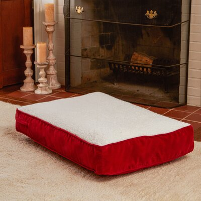 Buster Dog Bed Size: Extra Small (24 L x 18 W), Color: Crimson / Sherpa