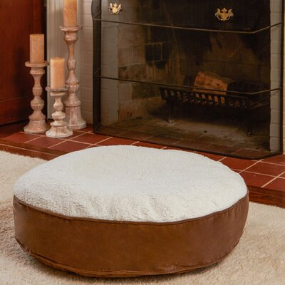 Scout Deluxe Round Dog Pillow Size: Extra Small (24 L x 24 W), Color: Latte / Sherpa