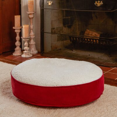 Scout Deluxe Round Dog Pillow Size: Medium (30 L x 30 W), Color: Crimson / Sherpa