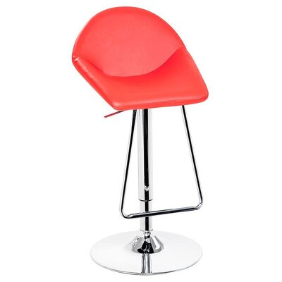 Camron Adjustable Height Metal Framed Swivel Bar Stool Upholstery Color: Red