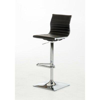Clower Adjustable Height Swivel Bar Stool Upholstery: Black