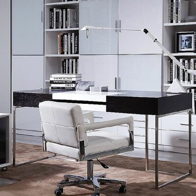 Ezra Computer Desk with Keyboard Tray Color: Black and White Product Picture 1163