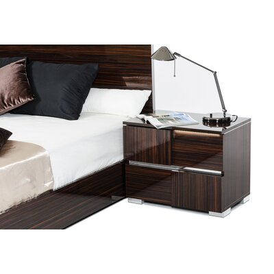 Camron Modern 2 Drawer Wood Framed Nightstand With LED Lights Finish: Ebony