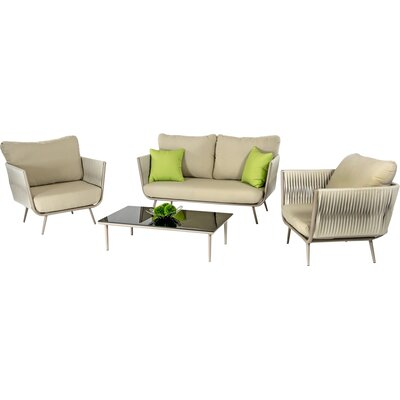 Ridgefield Outdoor 9 Piece Lounge Seating Group with Cushion