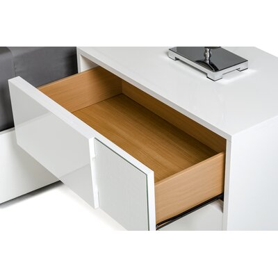 Camron Contemporary 2 Drawer Wood Top Nightstand Color: White, Orientation: Right Facing