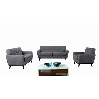 VIG Furniture VGYIT380 GRY Divani Casa 3 Piece Corsair Modern Sofa Set