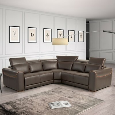 Coalpit Heath Wood Frame Leather Sectional