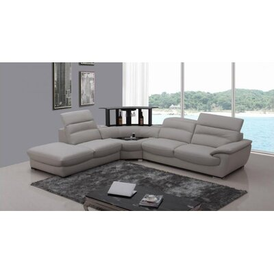 Cana Solid Cushion Back Leather Sectional