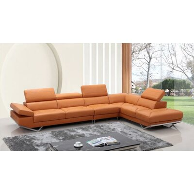 Cana Track Arms Leather Sectional