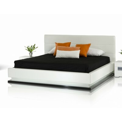 Sommerset Modern Upholstered Platform Bed Size: California King, Color: White