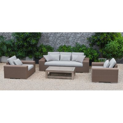 Sinclair Pelican 4 Piece Deep Seating Group with Cushions