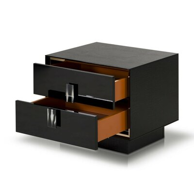 Sommerset Crocodile Lacquer 2 Drawer Nightstand