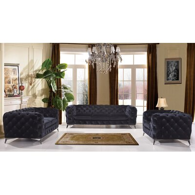 Azu 3 Piece Living Room Set Finish: Black