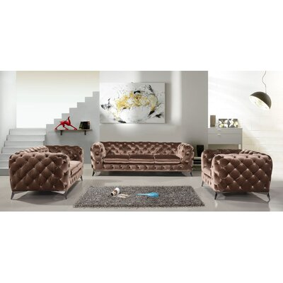 Azu Fabric Sofa Set Finish: Brown