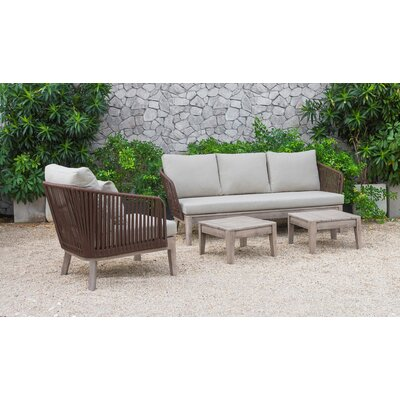 Darrie Outdoor 4 Piece Rattan Sofa Set With Cushions