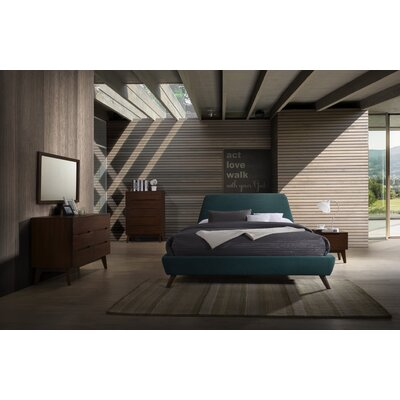 Mid-Century Walnut Panel Customizable Bedroom Set Size: King